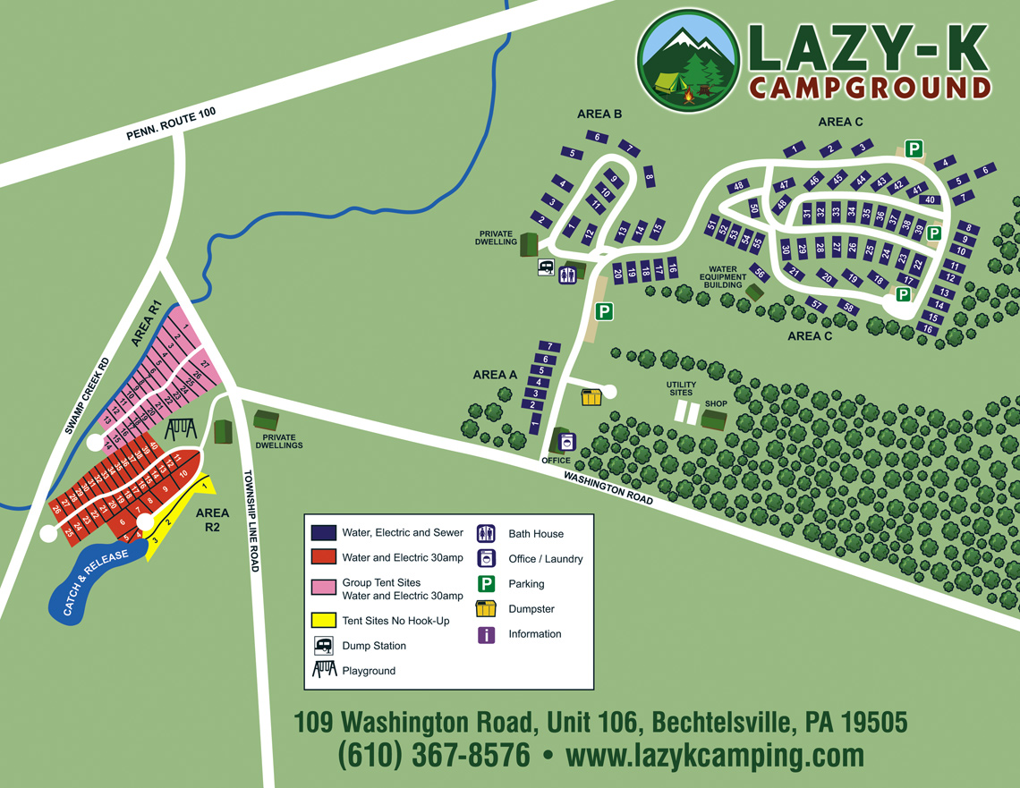 Lazy K Campground Site Map